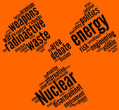 Nuclear symbol tag cloud — Stock Photo