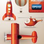 Detaylı uçan makineler kümesini vektör — Stok Vektör
