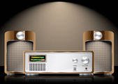 Retro Vector Hi Fi Set with Speakers — Vector de stock