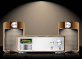 Retro vektor hi fi uppsättning med högtalare — Stockvektor