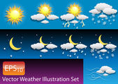 Vector Weather Illustration Set — Stock Vector
