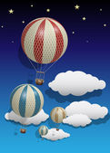 Vetor Vintage Hot Air Balloons with Clouds and Stars — Stock Vector