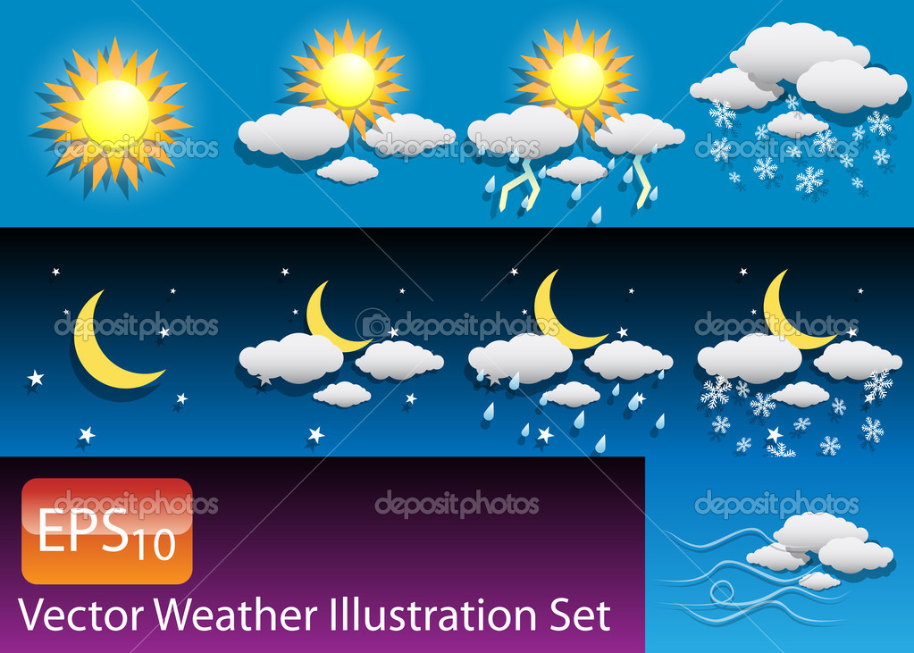 Vector Weather Illustration Set — Stock Vector #8187001