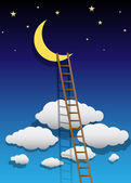 Vector Moon Illustration with Ladder — Stock Vector