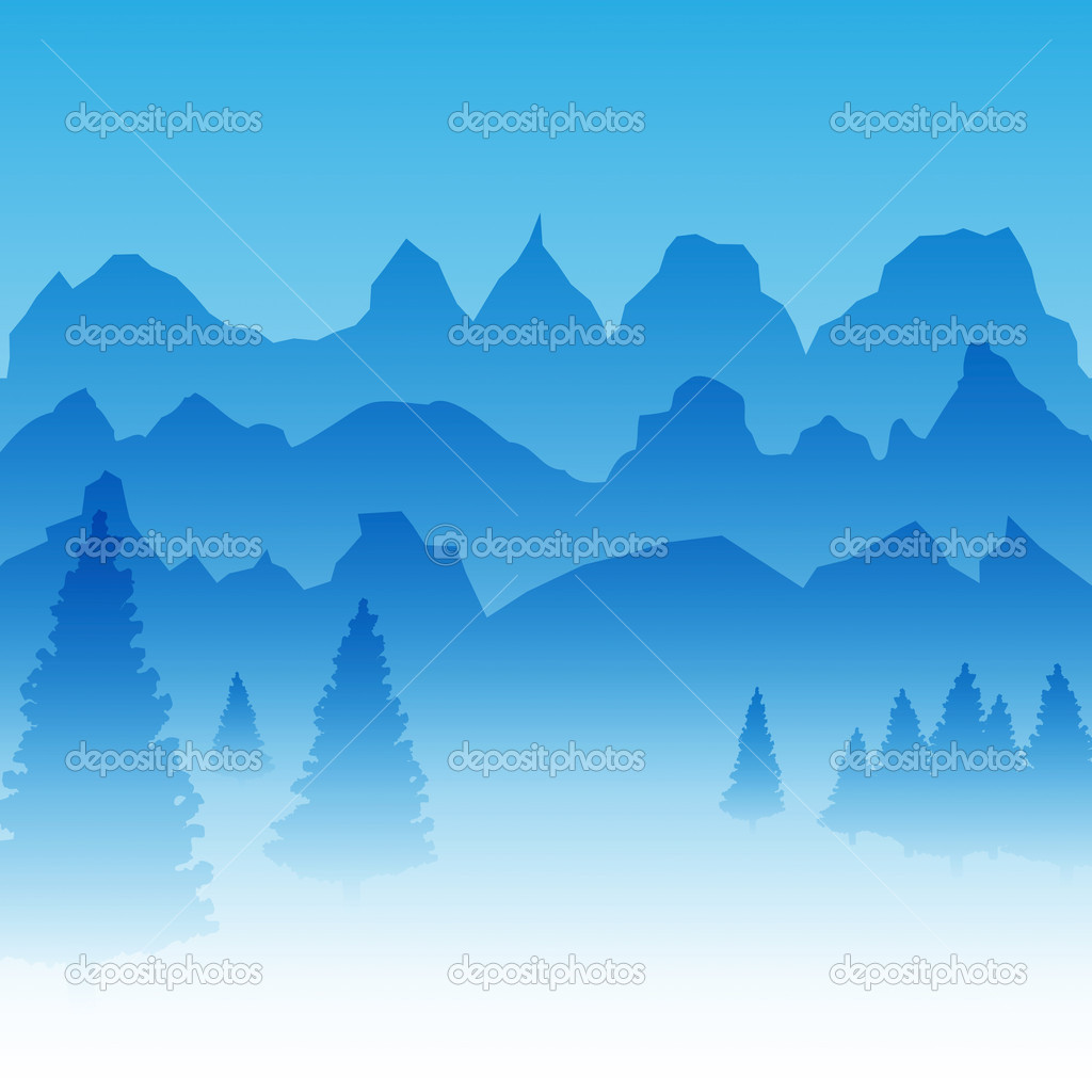 Vector Mountains with Pine Trees Natural Landscape Illustration — Stock Vector #8231083