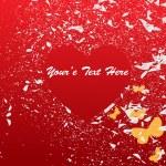 Vector Valentine Grunge Background with Butterflies — Stock Vector
