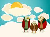 Owls in the sky — Stock Vector