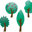 Set of cute trees — Stock Vector