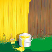 A bucket of paint and brush against the fence — Stock Vector