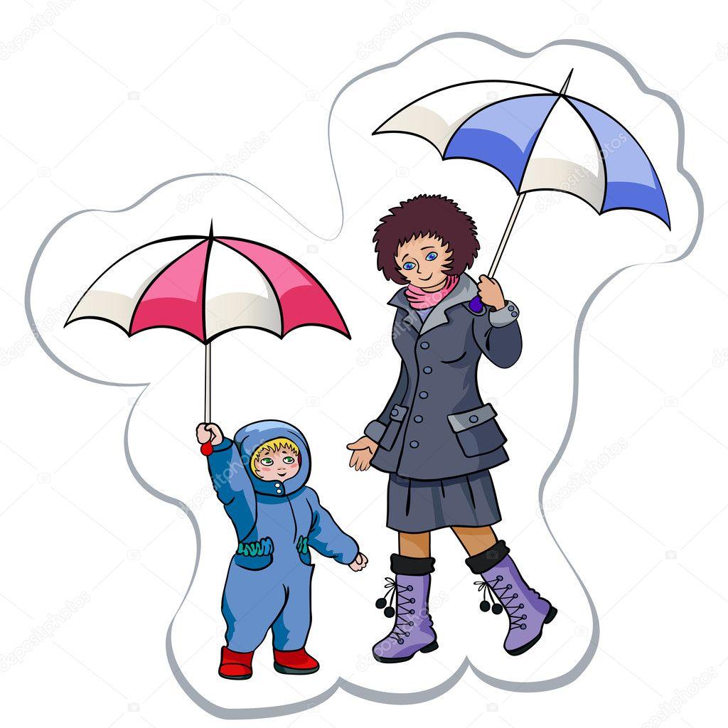 Он и она под зонтом в рисунках