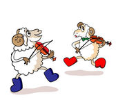 Lambs are musicians — Stock Vector