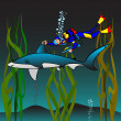 Vaccination of a shark — Image vectorielle