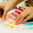 Stock Photo: Womselecting color from Pantone swatches book