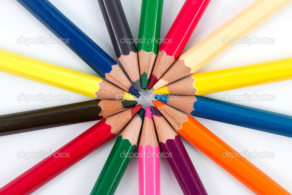 Different colored pencils in a circled array with a white background  Stock Photo #8016247