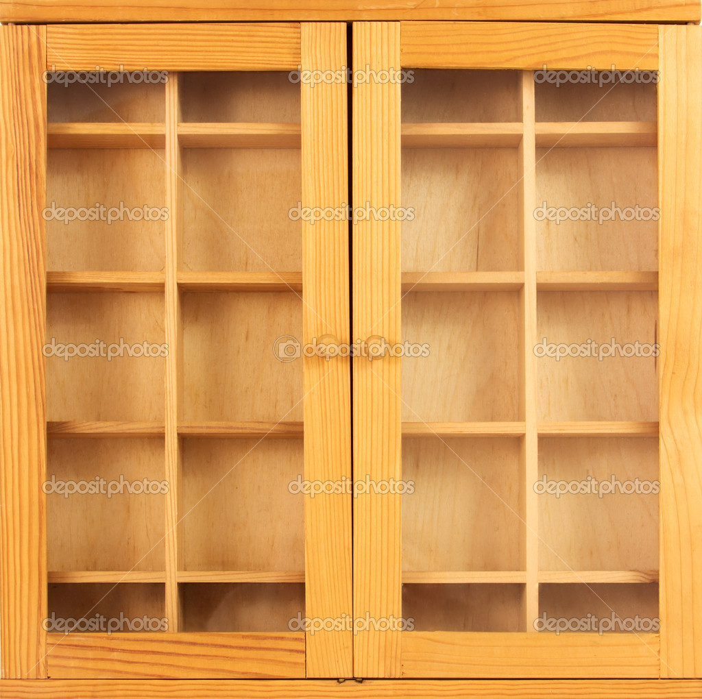 Wooden showcase with closed doors  Stock Photo #8284299