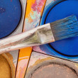 Paintbox with brush — Stock Photo