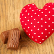 Heart with chocolate — Stock Photo