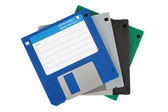 Four colored floppy disks — Stock Photo