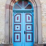 Colorful church door — Stock Photo