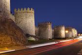 Walls of Avila tonight, Castilla y Leon (Spain) — Stock Photo