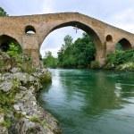 Roman bridge of Cangas de Onis, Asturias, Spain — Stock Photo