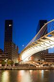 Zubizuri bridge, Abandoibarra, Bilbao, Bizkaia, Spain — Stock Photo