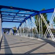 Metallic bridge of the Pilar, Zaragoza, Aragon, Spain - Stock Photo