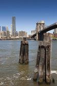 Manhattan och brooklin bro, new york, usa — Stockfoto