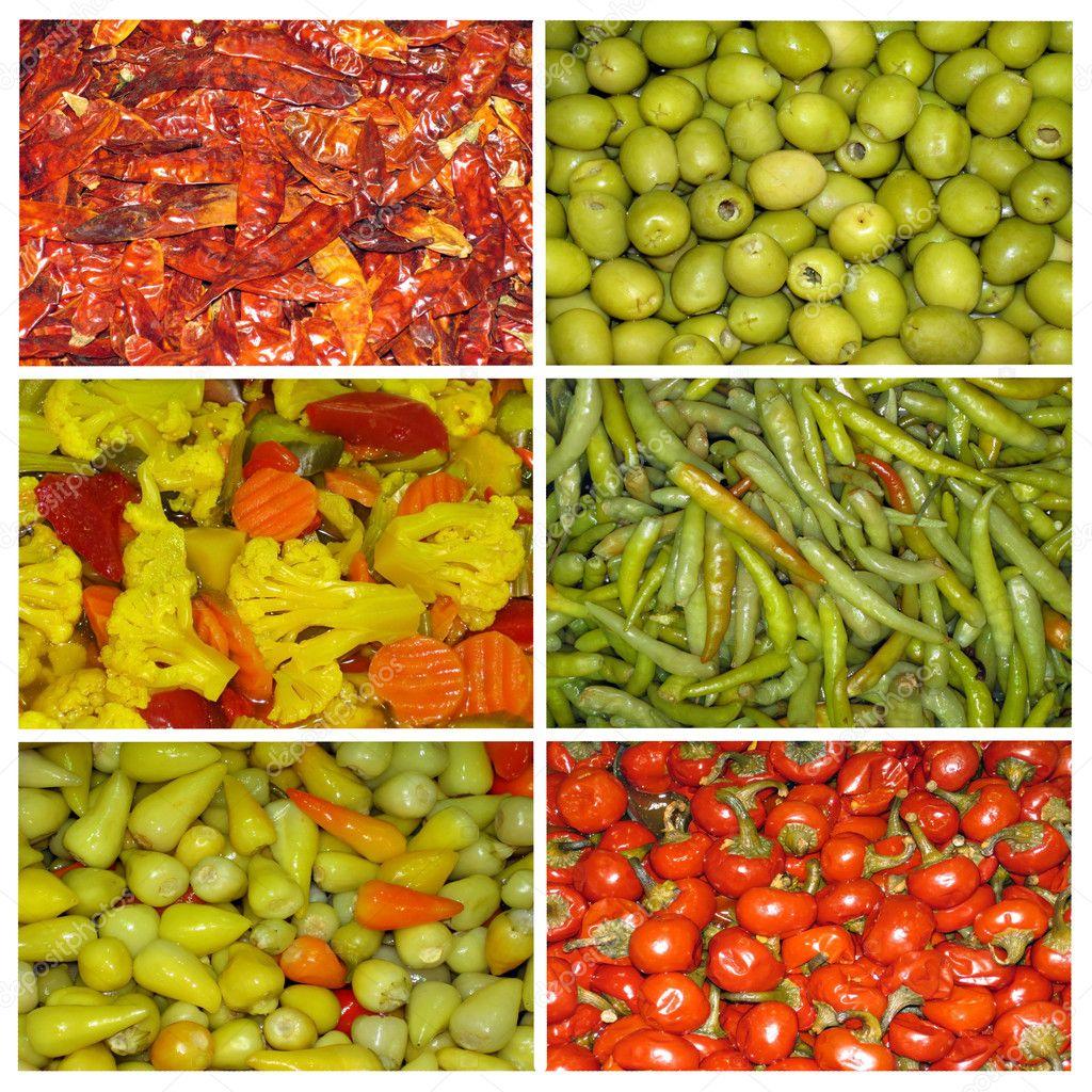 腌制蔬菜的抽象拼贴画 - 图库图片