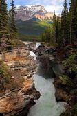 Thresholds on rapid mountain river — Stock Photo