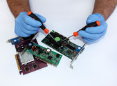 Repair of computer components — Stock Photo