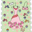 Cute dress cupcake background — Stock Vector