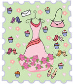 Cute dress cupcake background — Stock Vector