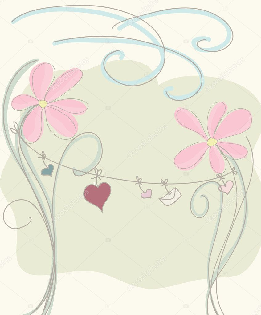 Cute floral background with hearts hanging — Stock Vector #8682059