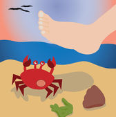 Foot stepping on a crab on the beach — Stock Vector