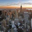 Stock Photo: Sunset over manhattan