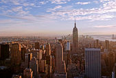 Sunset over manhattan — Stock Photo