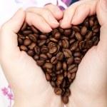 Heart coffee grains — Stock Photo