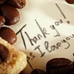 Coffee beans, thank you — Stock Photo