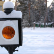 Closeup of old-style railway traffic lights. - Stock Photo