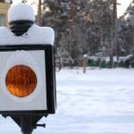 Closeup of old-style railway traffic lights. — Stock Photo