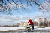 Bred skott av glad ung mamma i röd kappa med baby i buggy — Stockfoto