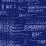 Resumo do projeto de código html em um fundo azul escuro — Fotografia Stock  #9021241