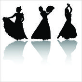 Silhouettes of dancing girls with shadow — Stock Vector