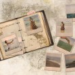 Collage, holiday with friends in a diary — Stock Photo