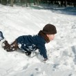 Stock Photo: Boy Playing with snow