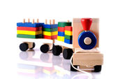 Wooden toy, steam locomotive — Stock Photo