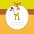 New baby shower card with giraffe — Stock Vector