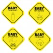 Stock Vector: Baby on board warning signals.