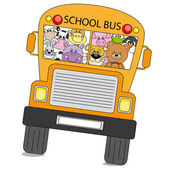 Many animals are on the bus to school — Stock Vector